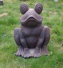 Grosser Frosch Steinfigur 45 cm Lavastein Statue massiv schwer Garten frostfest