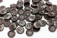 Brown Wooden Button Four Holes Sweater Natural Wood Bead Bowl Shaped 15mm 20pcs
