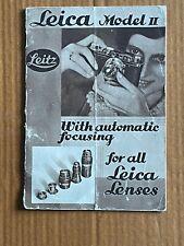 Leica Model II, Vintage Paper Booklet, 1932