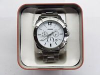 FOSSIL CHRONOGRAPH DATE WHITE DIAL STAINLESS STEEL MEN'S WATCH BQ2166IE NEW
