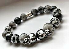 Mens Natural Stone Skull Energy Crystal Power Bead Bracelet Jewellery Wristband