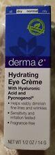 derma e Hydrating Eye Cream Hyaluronic Acid Pycnogenol Gluten Free Facial Care