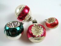 Lot of 4 Antique Blown Glass Christmas Ornaments, Red Pink Green