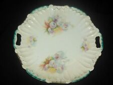 WEIMAR GERMANY SCALLOPED RIM CAKE PLATE PINK MUM FLOWERS 1905
