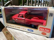 1965 Ford F-100 Custom Cab Pickup Truck Sun Star 1/18 Diecast Car 65 RED NIB