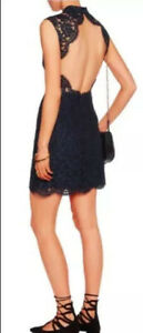 Sandro Navy Lace Backless Dress, Sz 1 Or Aus 8