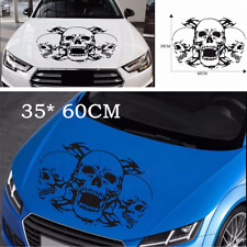 35* 60CM Triple Skull Graphics Black DIY Vinyl Decal Car Truck Hood Stickers