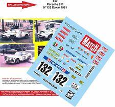 Decals 1/18 réf 657 Porsche 911 N132 Dakar 1981