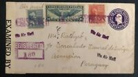 1942 San Andres Ca USA Censored PS Airmail Cover To Asuncion Paraguay