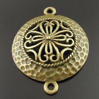 18pcs Antique Bronze Alloy  Round Hollow Flower Pattern Connector 35416