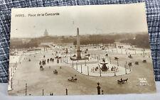RPPC Postcard Palace de la Concorde Paris, France Early Auto Car Horse Buggy VTG