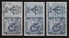 P60* Lot x3 Timbres 1986 n°2428 Petite variété nuance de bleu