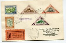 Mozambique multifranked registered cover Beira to Berne Switzerland 1-10-1937