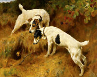 Two Hunting Dogs Oil painting Art Giclee Printed on Canvas P1272
