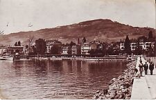 Switzerland Vevey Quai Lake Shore old used not mailed real photo sepia postcard