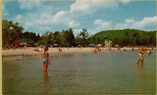 Girl's Playing Ball State Park Beach Lake Sunapee New Hampshire NH Postcard A16