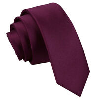 Plum Mens Skinny Tie Satin Plain Solid Formal Wedding Necktie by DQT