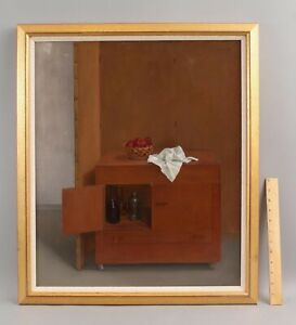 ALVIN ROSS Trompe l'oeil Still Life Oil Painting Basket Apples Cloth Cabinet, NR