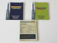Nintendo Game Boy Advance - Pokemon / Mario - 3 Instruction Booklets / Manuals