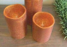 4pcs Orange Glitter Flameless Battery Operated Pillar Candle 5''