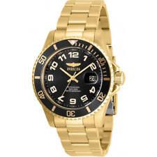 Invicta Men's Watch Pro Diver Quartz Black Dial Yellow Gold Bracelet 30695