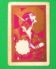 Vintage Art Deco Flapper Lady with Tambourine Swap Playing Card-Gold Gilt Violet