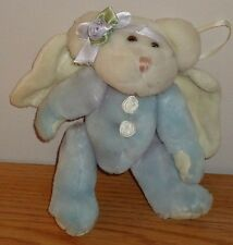 "Boyds Bears ANGEL BEAR plush Ornament Light Blue w/Flower Bow 5.5"" plush"