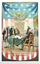 Tuck Signing Declaration of Independence Patriotic Embossed Postcard