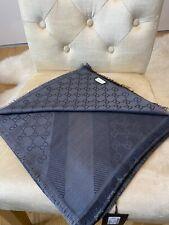 BNWT Dark Grey Gucci shawl GG Guccissima 140x140cm wool silk Scarf