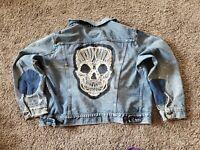 Levis Battle Jacket Denim Crust Punk Patch Skull Jacket medium m