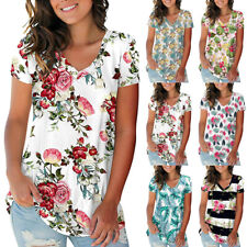 Womens Summer Casual V Neck Short Sleeve T Shirt Loose Floral Print Blouse Tops