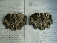 French 2 awesome patterned solid bronze cabinets door pulls antique