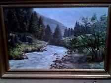 peinture tableau : huile sur carton toilé -  paysage - signé dimensions 65x48 cm