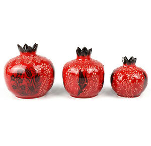 Handmade Turkish 3 Piece Pomegranate Vase Set Decoration House Warming Gift
