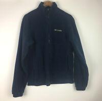 Columbia Fleece Men's Medium Full Zip Jacket Sweater Mock Neck Blue Long Sleeve