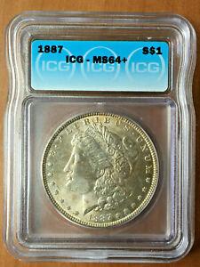 1887 Morgan Silver Dollar Coin USA $1 ICG MS 64+ Gold Toning