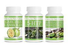 WEIGHT LOSS / ENERGY COMBO: Garcinia Cambrosia, Green Coffee Bean Extract, 5-HTP