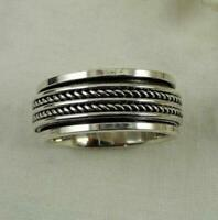 Solid 925 Sterling Silver Wide Band Spinner Ring Jewelry Handmade All Size DO339