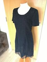 Ladies Dress Size 12 RICHARDS Black Beaded Cocktail Smart Party Evening Cruise