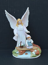 "Roman Inc Angel Toddler Picking Flowers by Stream Figurine 7.5"" Pastel 1994"