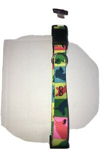"""NEW WT Petco Large Multi Color Block Dog Collar 16-26"""" W/ Dog Silhouette Pattern"""