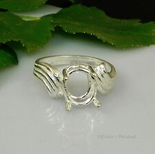 10x8 Oval Swirl Bypass Pre-Notched Sterling Silver RING Setting Sz7