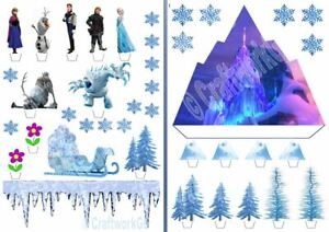 Ana and Elsa with Frozen Castle Edible Wafer Cake Decoration Scene