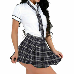 Women Sexy School Girl Uniform Plaid Outfit Student Cosplay Fancy Dress Costume