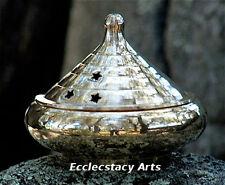 """Brass Smudge Pot, Resin Incense Censer Burner for Cones-Charcoal 4""""D {:-)"""