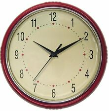 Geneva 9-1/2-Inch Plastic Diner Wall Clock, Red & Chrome