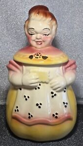 Vintage 1950's USA American Bisque Pottery Grandma Yellow Dress Apron Cookie Jar