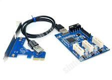 SINTECH PCI-e express 1X to 3port 1X Switch Multiplier HUB riser card +USB cable