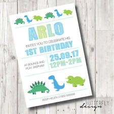 Boys Dinosaur Birthday Personalised Invitations x 8