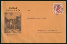 Mayfairstamps Germany Stastrat Lauingen Buildings Statue Man Horse Cover wwr_039